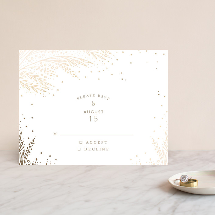 """Botanical Filigree"" - Foil-pressed Rsvp Cards in Gold by Phrosne Ras."