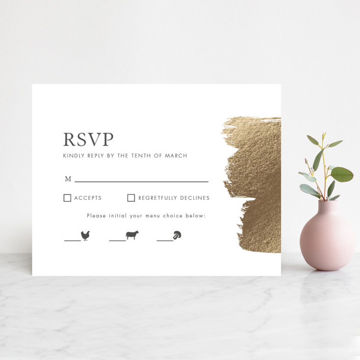 """A Love So Bright"" - Modern Foil-pressed Rsvp Cards in Gold by Seven Swans."