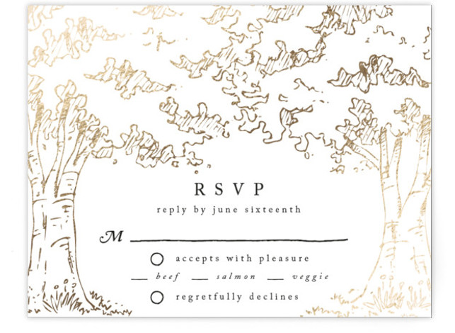 This is a landscape botanical, illustrative, rustic, whimsical, white, gold RSVP Cards by Qing Ji called A Poem For The Trees with Foil Pressed printing on Signature in Card Flat Card format. An elegant and modern design featuring hand drawn ...