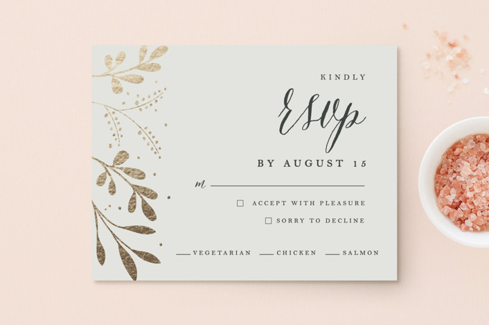 """Adorn"" - Rustic Foil-pressed Rsvp Cards in Charcoal by Angela Thompson."