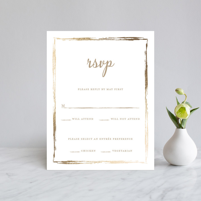 """Black-Tie In Border"" - Foil-pressed Rsvp Cards in Brass by Poi Velasco."