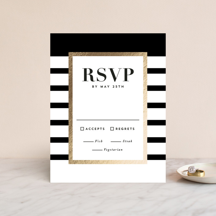 """Editorial chic"" - Preppy Foil-pressed Rsvp Cards in Tuxedo by Hooray Creative."