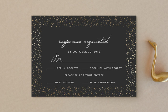 """""""Glittered Wedding Frame"""" - Classical, Formal Foil-pressed Rsvp Cards in Charcoal by Erin Deegan."""
