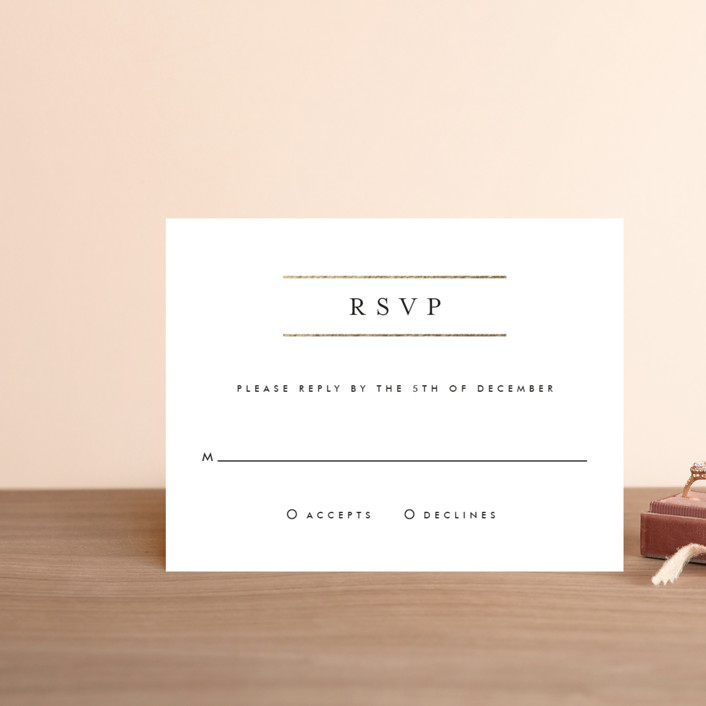 """""""Gold Bars"""" - Foil-pressed Rsvp Cards in Charcoal by Fig and Cotton."""