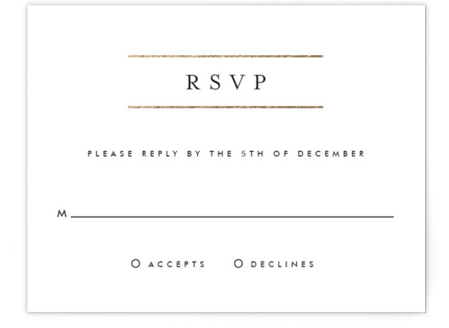 This is a landscape classic and formal, simple and minimalist, black and white, gold RSVP Cards by Fig and Cotton called Gold Bars with Foil Pressed printing on Signature in Card Flat Card format. This masculine invitation is perfect for ...