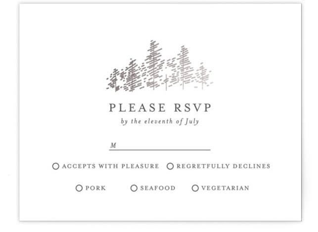 This is a landscape illustrative, simple and minimalist, grey, silver RSVP Cards by Bethan called Golden Pines with Foil Pressed printing on Signature in Card Flat Card format. An elegant invitation, perfect for a woodland wedding, featuring a foiled forest ...