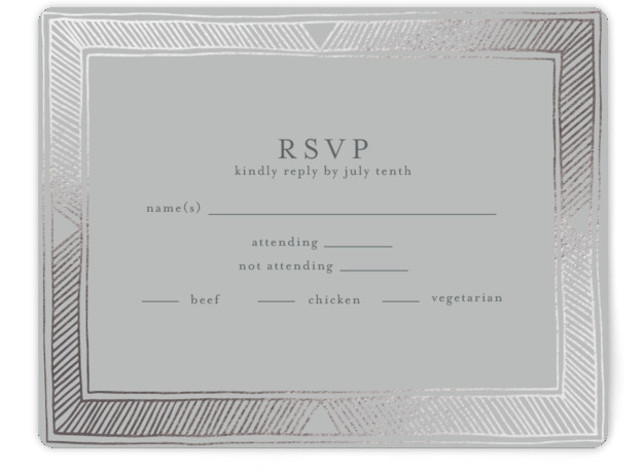 This is a landscape bohemian, silver RSVP Cards by Katharine Watson called Hand Drawn Gilded Frame with Foil Pressed printing on Signature in Card Flat Card format. This design uses a hand drawn geometric border to create an eye catching, ...