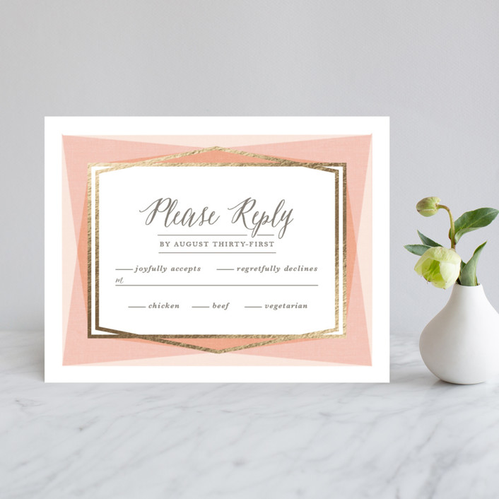 """""""Modern Angles"""" - Modern Foil-pressed Rsvp Cards in Peach by Karidy Walker."""