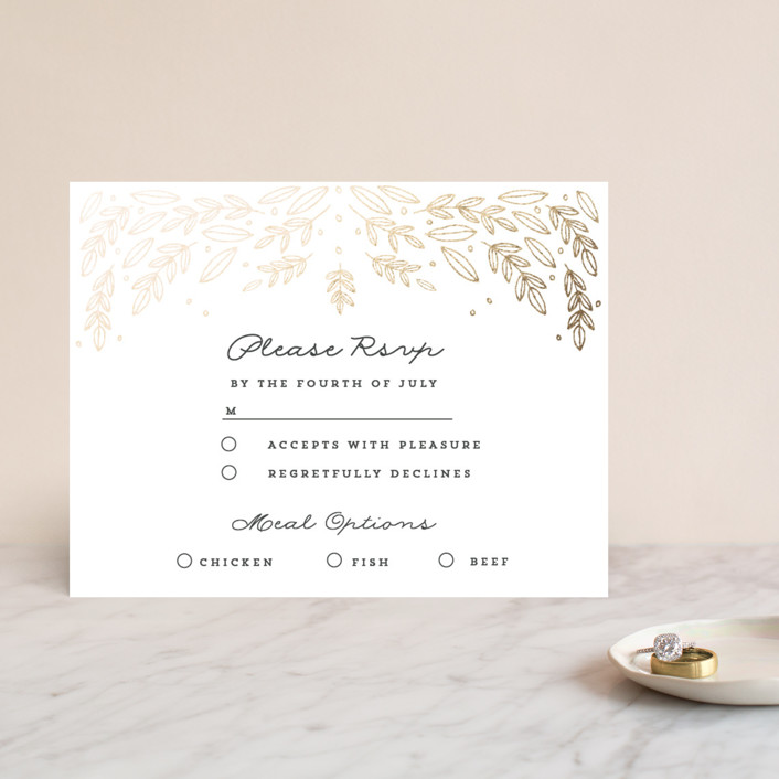"""Natural Frame"" - Foil-pressed Rsvp Cards in Charcoal by Bethan."