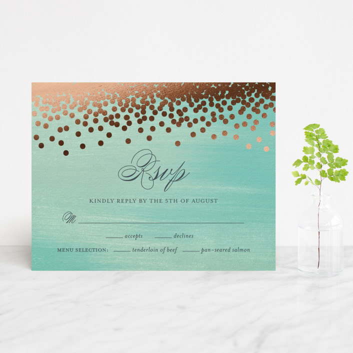"""Confetti"" - Bohemian, Whimsical & Funny Foil-pressed Rsvp Cards in Teal by Eric Clegg."