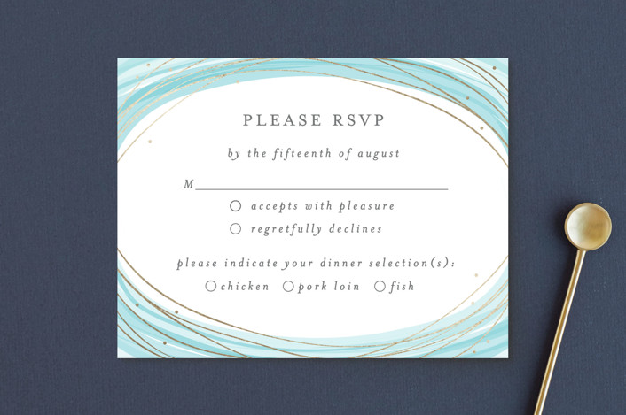 """Watercolour Wreath"" - Bohemian Foil-pressed Rsvp Cards in Teal by Bethan."