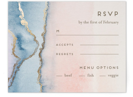 Simple Agate Foil-Pressed RSVP Cards