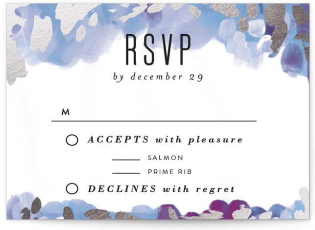 This is a landscape bohemian, painterly, purple RSVP Cards by Alethea and Ruth called Gallery Abstract Art with Foil Pressed printing on Signature in Card Flat Card format. This wedding invite features abstract art framing clean typography.