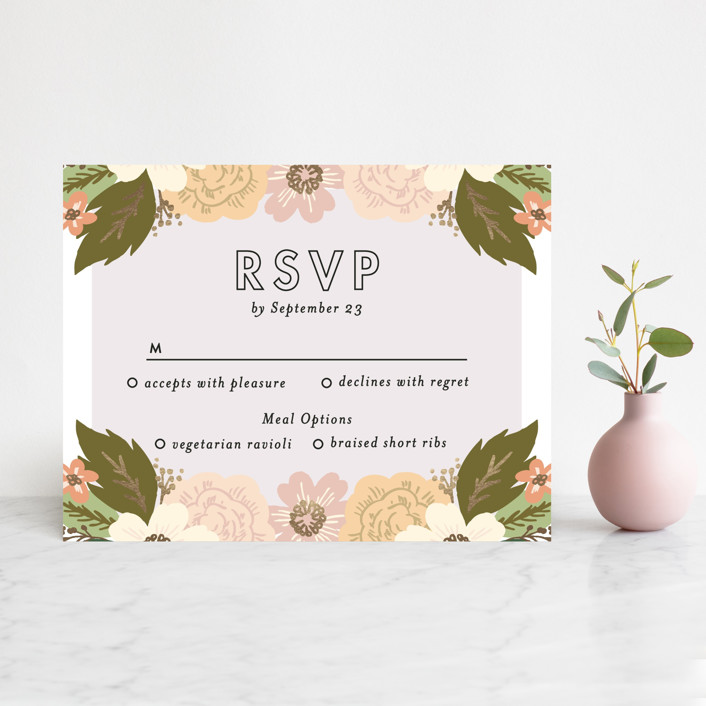 """Classic Floral"" - Floral & Botanical Foil-pressed Rsvp Cards in Spring Blush by Alethea and Ruth."