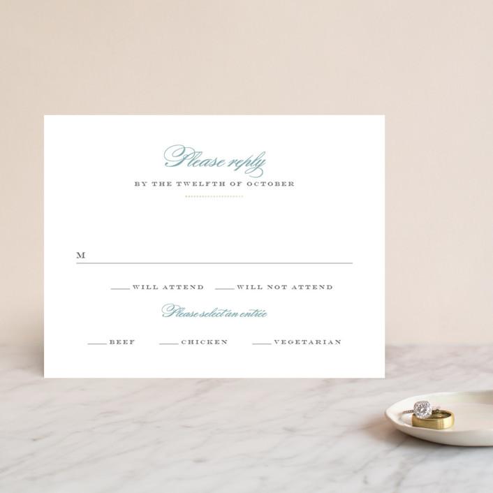 """Charming Go Lightly"" - Monogrammed, Elegant Foil-pressed Rsvp Cards in Sky Blue by danielleb."