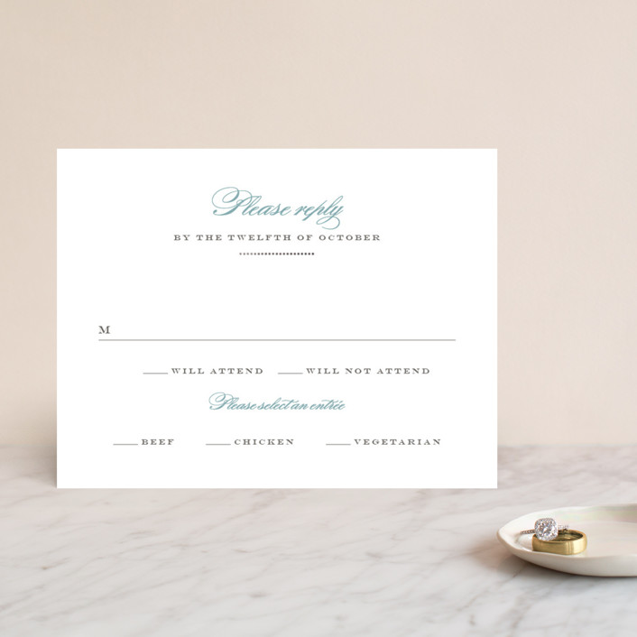 """Charming Go Lightly"" - Monogrammed, Elegant Foil-pressed Rsvp Cards in Sky Blue by danielleb."