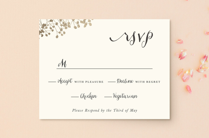 """""""In Nature"""" - Floral & Botanical, Rustic Foil-pressed Rsvp Cards in Beachwood by Leah Bisch."""