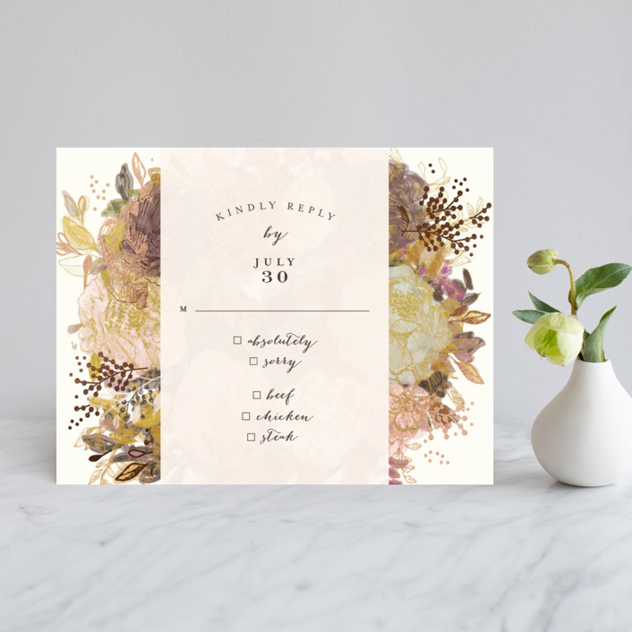 """Floral Feast"" - Foil-pressed Rsvp Cards in Rose Gold by Phrosne Ras."