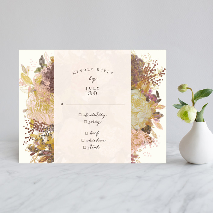 """""""Floral Feast"""" - Foil-pressed Rsvp Cards in Rose Gold by Phrosne Ras."""