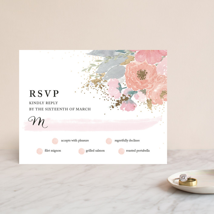 """fresh watercolor floral"" - Floral & Botanical, Hand Drawn Foil-pressed Rsvp Cards in Peach by Qing Ji."