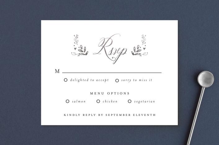 """Tiny Initials"" - Elegant, Floral & Botanical Foil-pressed Rsvp Cards in Charcoal by Susan Brown."