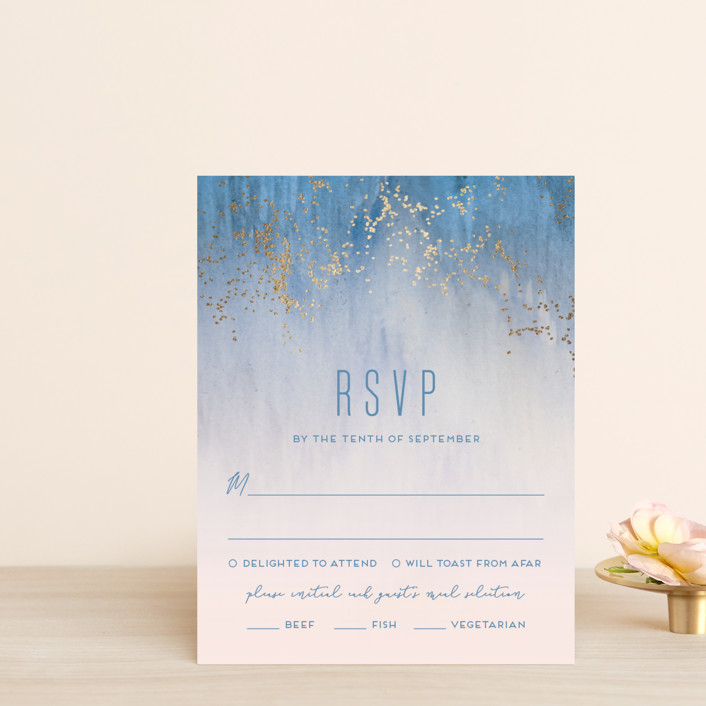 """Midsummer Night"" - Foil-pressed Rsvp Cards in Rose And Serenity by Kaydi Bishop."