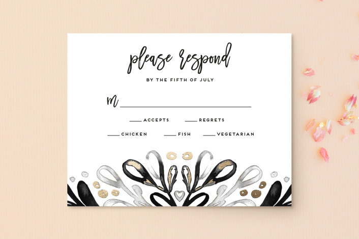 """Chic Glow"" - Foil-pressed Rsvp Cards in Frost by Simona Camp."