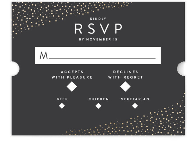 This is a black, gold RSVP Cards by Robinson Paperie called Modern Glam with Foil Pressed printing on Signature in Card Flat Card format. Simple, clean and monochromatic invitation for the artistic and modern couple. Edgy but with a glamorous ...