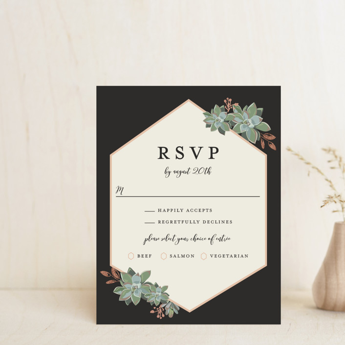 """Succulent Surround"" - Foil-pressed Rsvp Cards in Tuxedo by Susan Moyal."