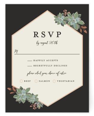 Succulent Surround Foil-Pressed RSVP Cards