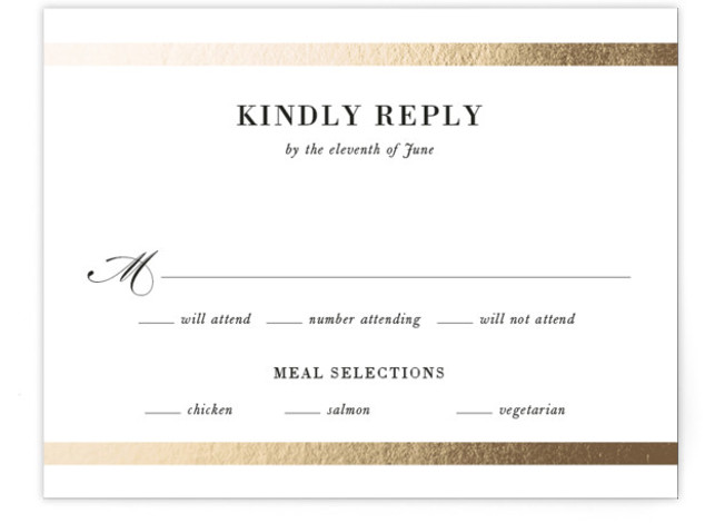 This is a black and white, gold RSVP Cards by Stacey Meacham called Classic Monogram with Foil Pressed printing on Signature in Card Flat Card format. An elegant wedding invitation with classic monogram and type with horizontal gold bars.