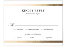 This is a white rsvp card by Stacey Meacham called Classic Monogram with foil-pressed printing on signature in standard.