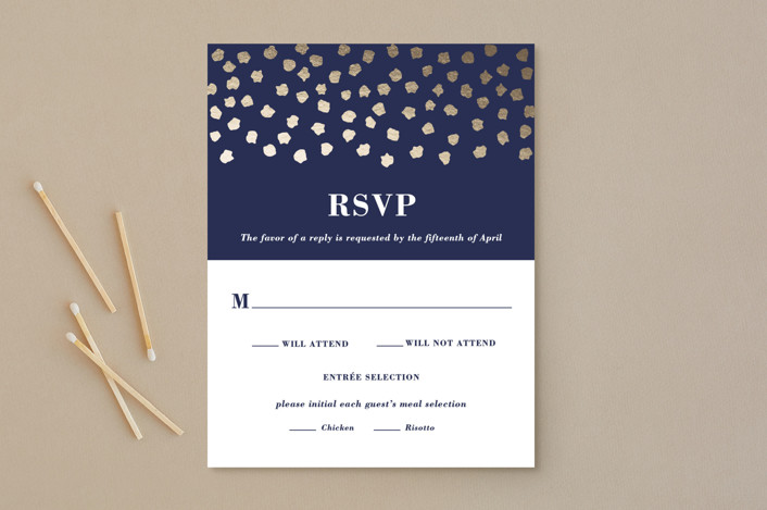 """Shimmer"" - Foil-pressed Rsvp Cards in Midnight by Olivia Raufman."
