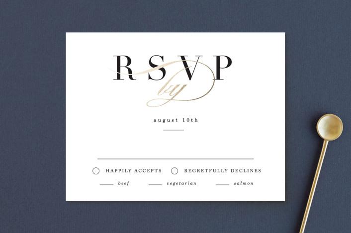 """Elegant Initials"" - Foil-pressed Rsvp Cards in Ivory by Kelly Schmidt."