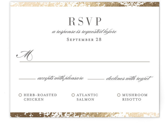 This is a gold RSVP Cards by Snow and Ivy called Fleck with Foil Pressed printing on Signature in Card Flat Card format. Organic speckled foil design creates elegant border for this elegant, typography based wedding invitation.