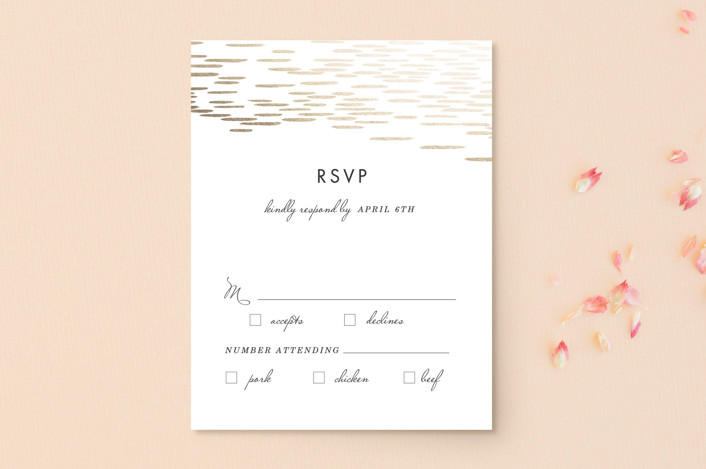 """Sahara Shimmer"" - Foil-pressed Rsvp Cards in Almond by Makewells."
