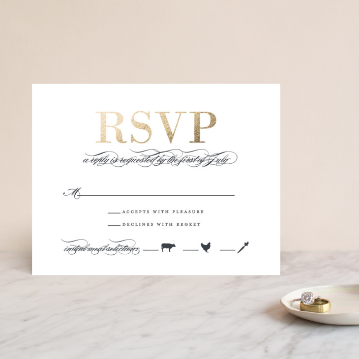 """""""Unconditional"""" - Foil-pressed Rsvp Cards in Granite by Lauren Chism."""