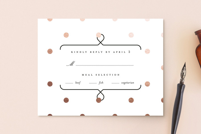 """Josephine"" - Foil-pressed Rsvp Cards in Rose Gold by kelli hall."