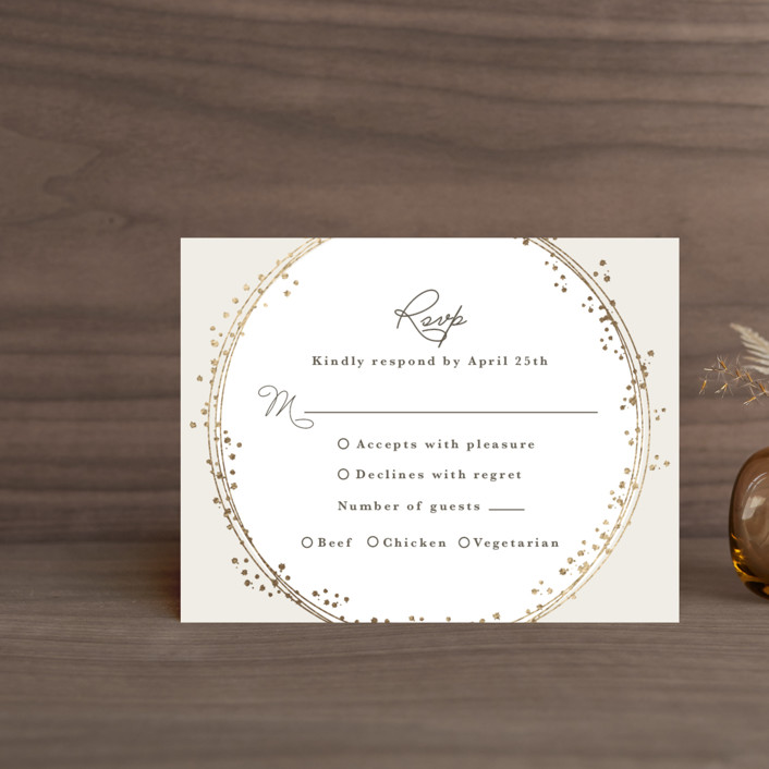 """""""Tiara"""" - Bohemian Foil-pressed Rsvp Cards in Ivory by Tatiana Nogueiras."""