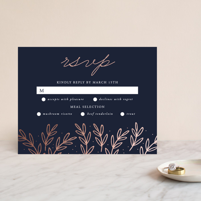 """gilded evergreen"" - Foil-pressed Rsvp Cards in Navy by Oma N. Ramkhelawan."