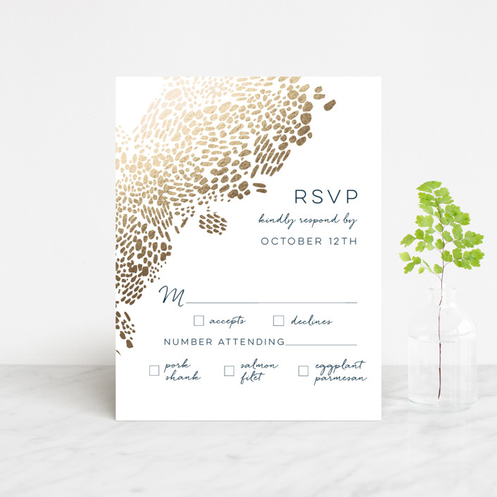 """Deep Ocean Currents"" - Foil-pressed Rsvp Cards in Teal by Makewells."