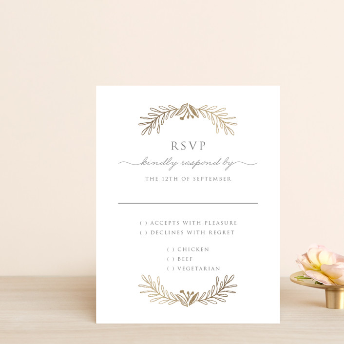 """Gilded Laurels"" - Foil-pressed Rsvp Cards in Steel by Smudge Design."