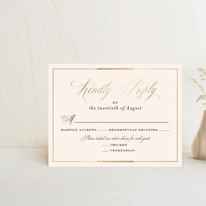 """Cambridge"" - Foil-pressed Rsvp Cards in Ivory by Little Words Design."