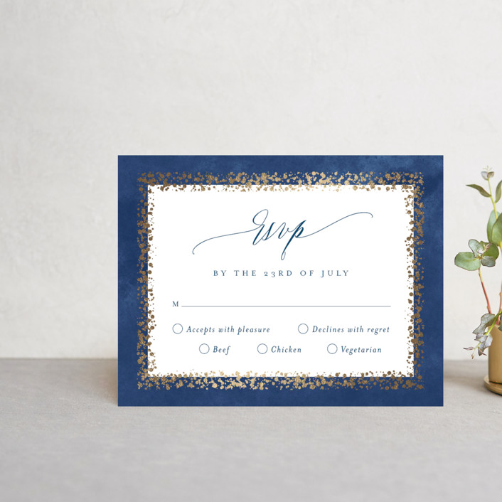 """Aspen"" - Foil-pressed Rsvp Cards in Midnight by Kristie Kern."