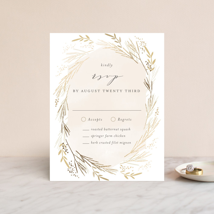 """Wheat Field"" - Foil-pressed Rsvp Cards in Goldenrod by Kristie Kern."