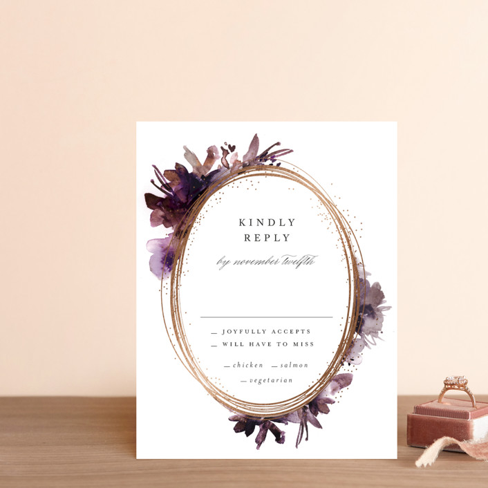 """""""Shimmer"""" - Foil-pressed Rsvp Cards in Mauve by Lori Wemple."""