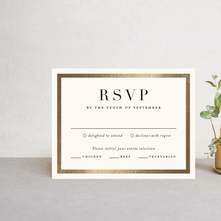 """Bold Classic"" - Foil-pressed Rsvp Cards in Gold by Jessica Williams."