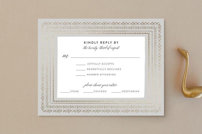 """""""Gilded Chevron"""" - Foil-pressed Rsvp Cards in Dove Grey by Joanna Griffin."""