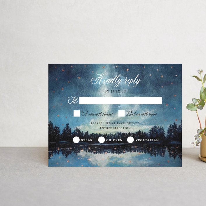 """Stellar"" - Foil-pressed Rsvp Cards in Midnight by Elly."