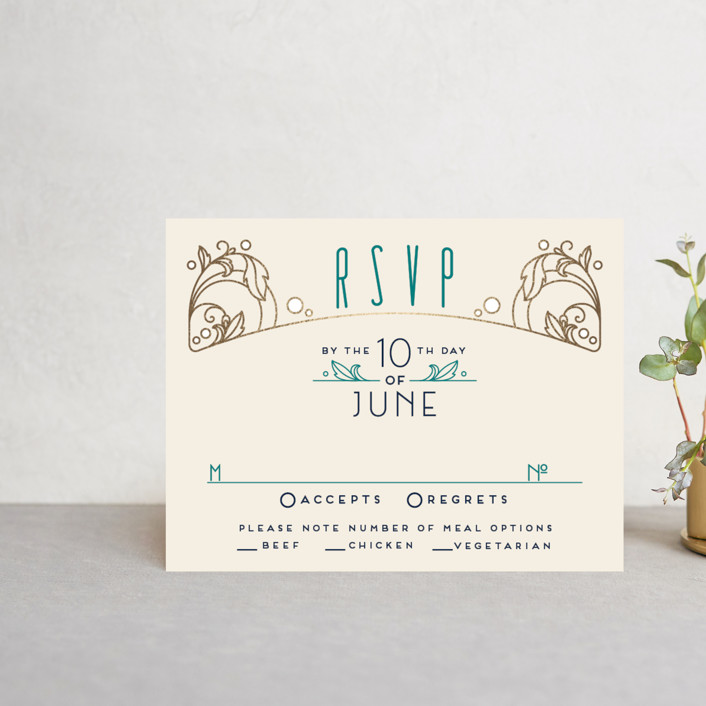 """Ornate Deco"" - Foil-pressed Rsvp Cards in Gold by GeekInk Design."